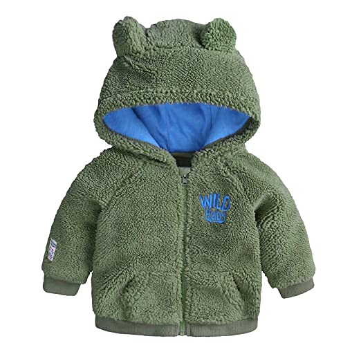 WARMSHOP Baby Boys Girl Solid Lightweight Fleece Jacket Cute Ears Windproof Autumn Winter Zipper Hooded Warm