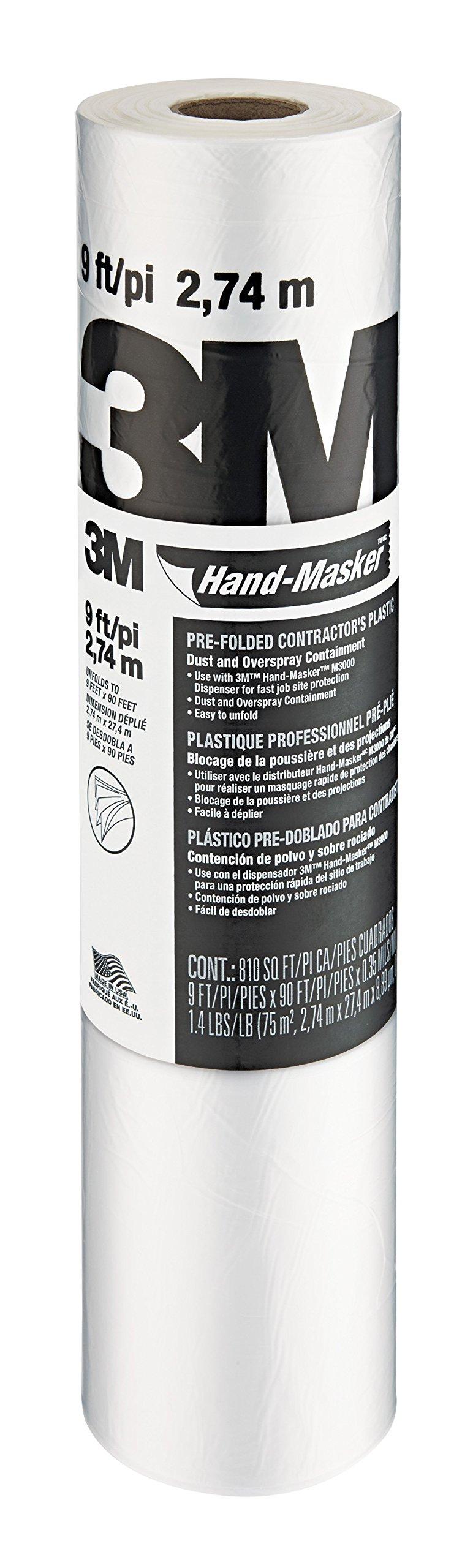 3M Hand Masker Contractor's Plastic, 9 x 90' x 0.00035'', 12 per Case
