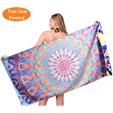 Sand Free Travel Beach Towel Blanket-Quick Fast Dry Super Absorbent Lightweight Thin Microfiber Towels for Pool Swimming Bath Camping Yoga Gym Mandala