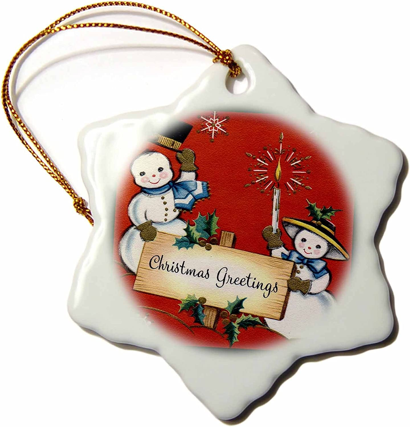 Amazon Com 3drose Snow Couple With A Christmas Greetings Snowflake Ornament Home Kitchen