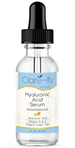 Hyaluronic Acid Serum For Face with Vitamin C & A, Organic Green Tea and Micro Algae Extracts. Best Anti-Aging Moisturizing Facial Serum for Face, Neck & Décolleté. 1 FL OZ
