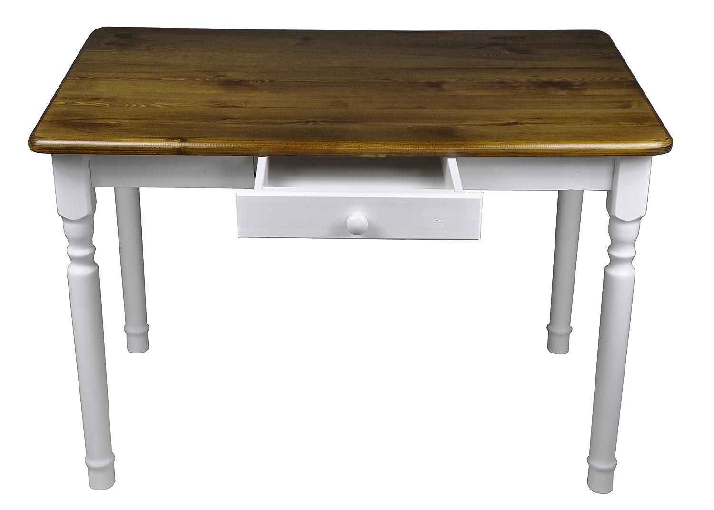 Esstisch mit Schublade Küchentisch Tisch Massiv Kiefer 80 x 60 cm ...