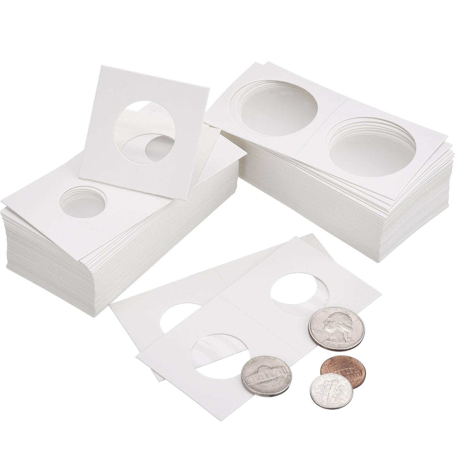 Hicarer 300 Pieces Cardboard Coin Holder Flip Mega Assortment, 2 by 2 Inch for Coin Collection Supplies (6 Sizes) by Hicarer (Image #5)