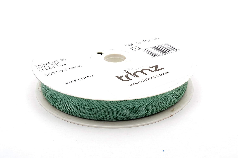 Inastri color verde salvia 116 14//4// 4 mm Cinta bies de algod/ón