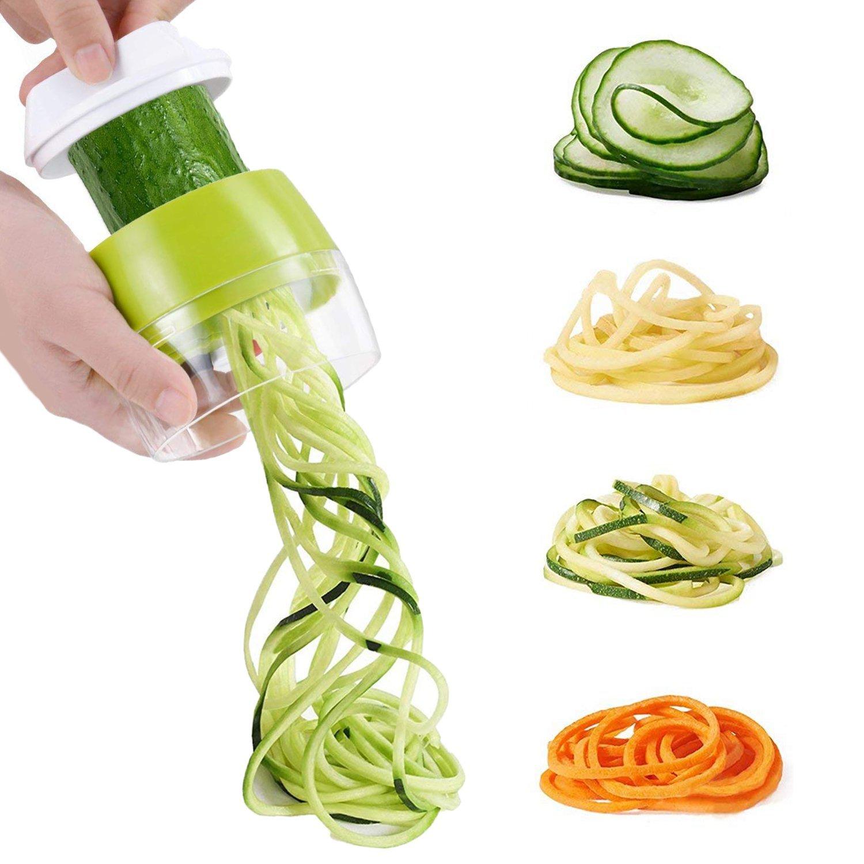 Handheld Spiralizer, MengK 3-Blade Good Grips Vegetable Slicer - Veggie Spiral Slicer Cutter for Noodle Maker Pasta Zucchini Spiral Maker - Green