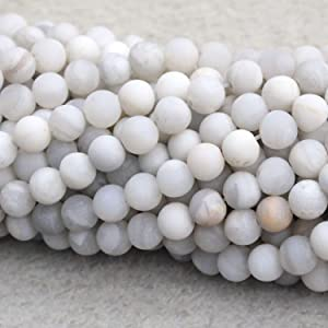 Tacool Natural White Crazy Lace Agate Matte 8mm Gemstone Beads Round for DIY Necklace Jewelry Making Beads