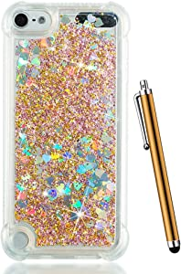 for iPod Touch 6 Case Glitter,iPod Touch 5th Generation Case,iPod 6 Case for Kids,CAIYUNL Glitter Liquid Floating Bling Clear Sparkle Quicksand Protective for Apple iPod Touch 6th 5 Generation-Gold