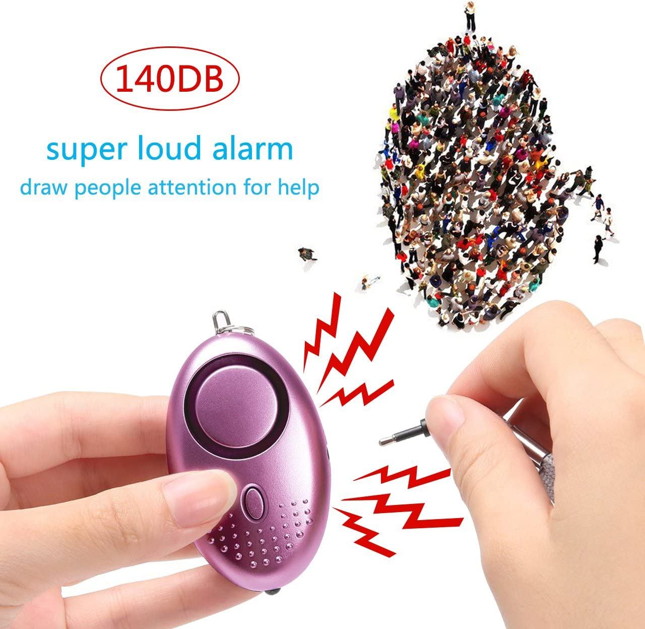 140DB Emergency Self-Defense Security Alarm Keychain with LED Light for Women Kids and Elders Blue Personal Alarm for Women
