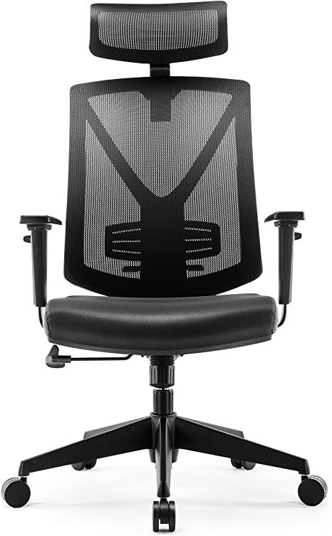 Intey Office Chair Ergonomic Swivel Chair With Adjustable Headrest And Armrests Height Adjustment And Rocking Function For Office Work Holds Up To 150 Kg Amazon De Kuche Haushalt