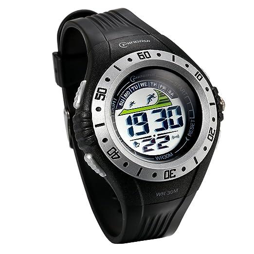 JewelryWe Reloj Digital de Hombre Militar Deportivo Reloj Grande A Prueba de Agua 3ATM Correa de PVC de Estilo Piloto, Plateado Casual Reloj de Pulsera Para ...