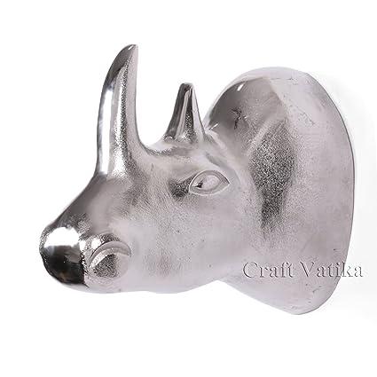 Amazon.com: AapnoCraft Large Metal Rhino Wall Sculpture - Rhinoceros ...