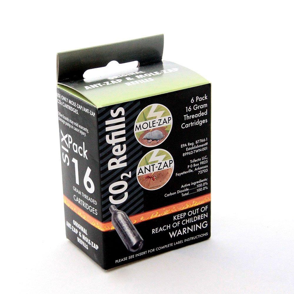 Mole-Zap Ant-Zap Threaded Co2 Cartridges Refills 6 Pack , 16g