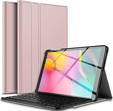 IVSO Teclado Estuche para Samsung Galaxy Tab A T510/T515 10.1 2019 (QWERTY English), Slim Stand Funda con Removible Wireless Teclado para Samsung Galaxy Tab A 10.1 T510/T515 2019, Oro Rosa: Amazon.es: Electrónica