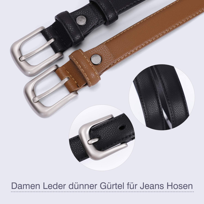JasGood Damen Skinny Ledergürtel Einfarbig Pin Buckle Taille Gürtel für Jeans Hosen Kleider