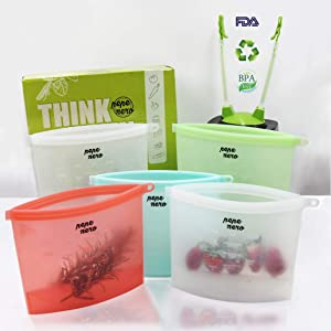 Silicone Bags Reusable - Reusable Silicone Food Bag - Reusable Freezer Bags - Reusable Lunch Bags - Silicone Food Storage Bag - Zip Top Containers