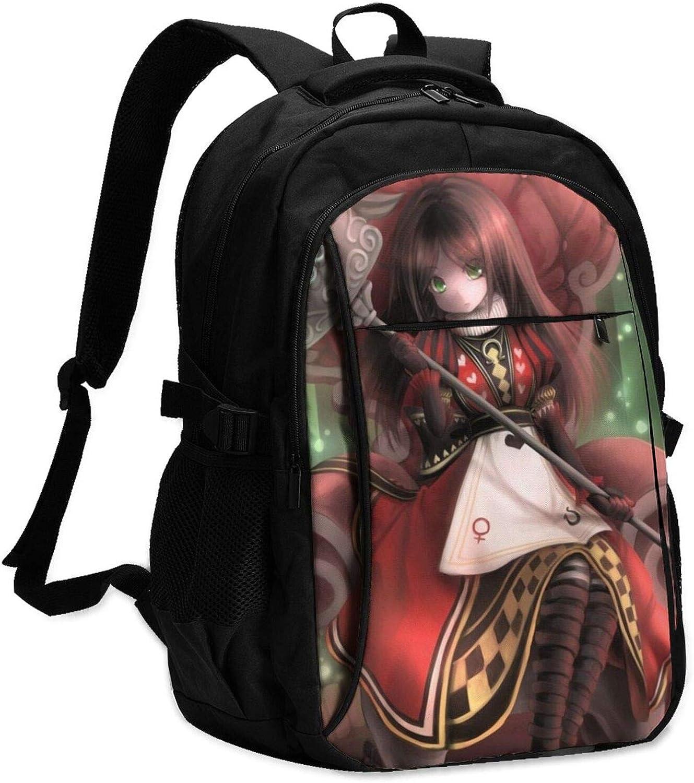 Anime Alice in Wonderland - Mochila para portátil con carga USB y puerto para auriculares para hombre y mujer, gran bolsa ligera para la escuela/el trabajo o los viajes.