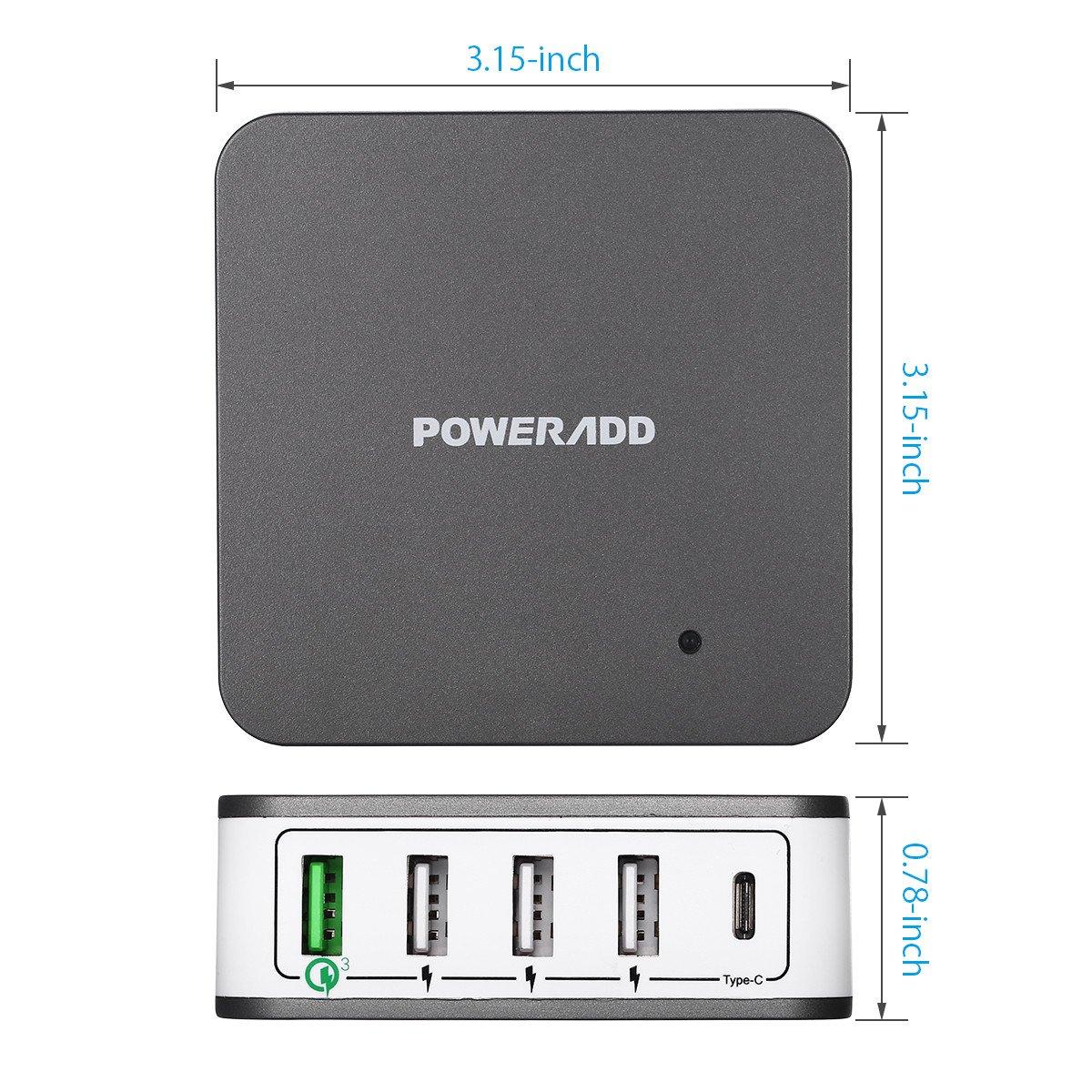 POWERADD Quick Charge 3,0 Ladeadapter mit Automatische Erkennung USB Port, Type C und Handy Tablet Ständer