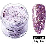 28g/Box Pink Shine Glitter Hexagon Sequins Paillette Dip Powder Nails Dipping Nails Long-lasting Nails No UV Light Needed, (No.123)