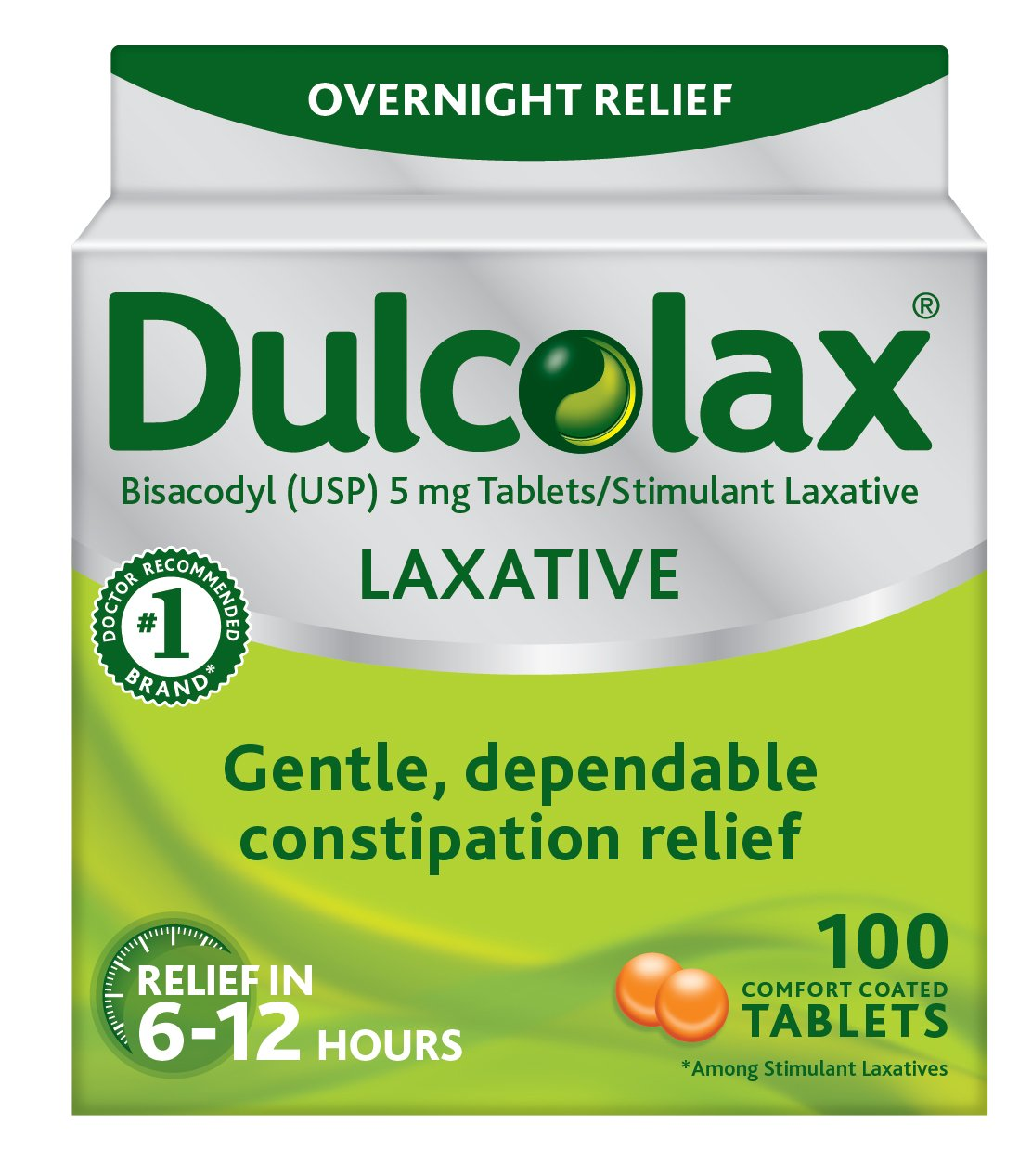 Dulcolax Laxative Tablets, 100 Count, Gentle, Reliable Overnight Relief from Constipation, Hard, Dry, Painful Stools, and Irregular Bowel Movements, Stimulates Bowel to Encourage Movement by Dulcolax