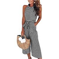 8a794240bf28 PRETTYGARDEN 2019 Women s Striped Sleeveless Waist Belted Zipper Back Wide  Leg Loose Jumpsuit Romper with Pockets