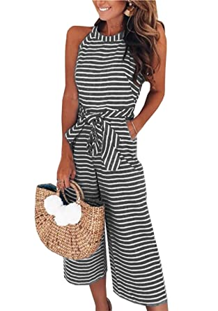5549306f1102 PRETTYGARDEN 2018 Women s Striped Sleeveless Waist Belted Zipper Back Wide  Leg Loose Jumpsuit Romper with Pockets