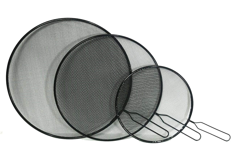 DPNY 3 x Splatter Guard Set Frying Pan Anti Splash Screen Cover Mesh Metal Wired 21 29 and 33cm