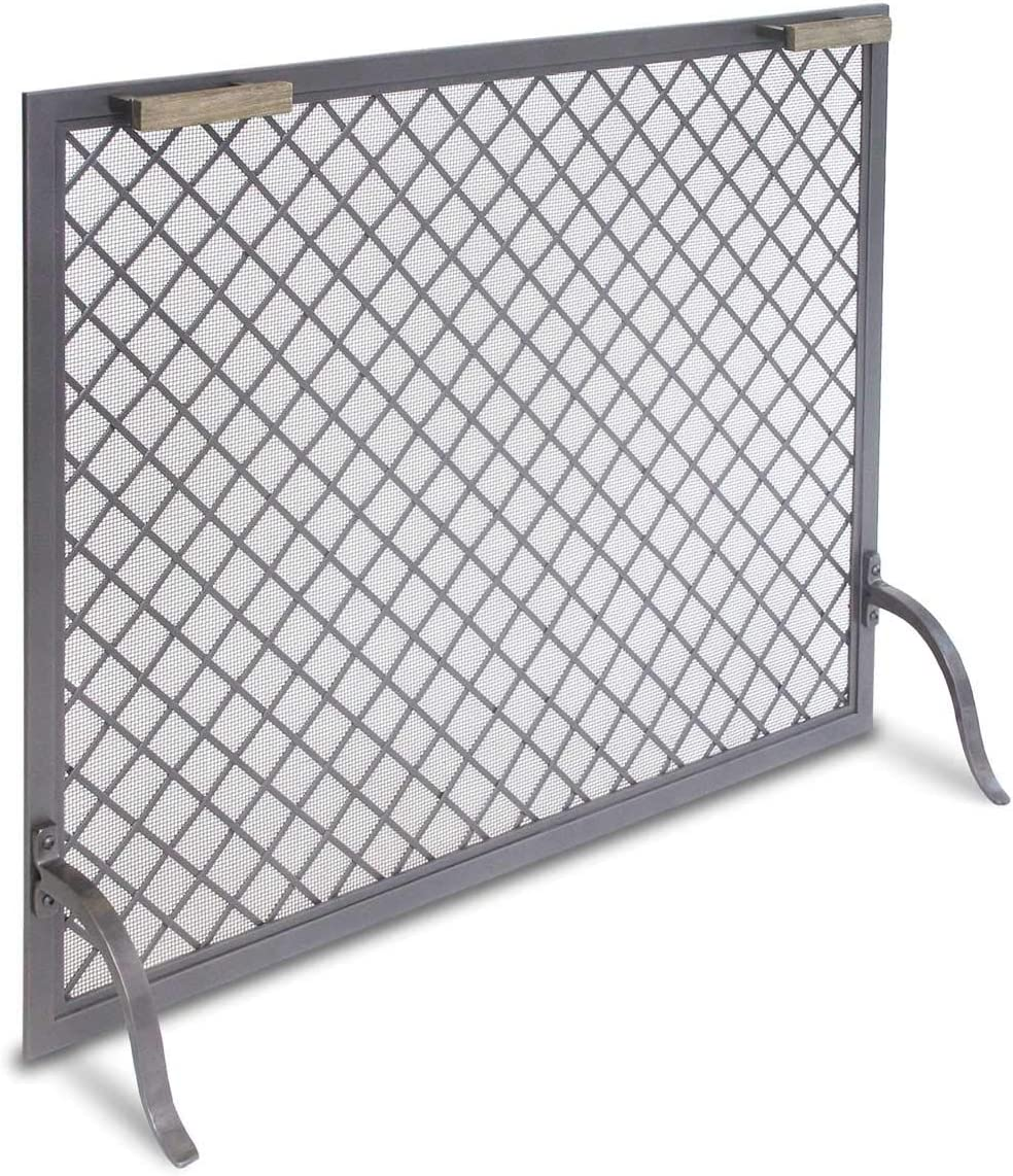 Pilgrim Home and Hearth, Natural Iron 18317 Stanton Single Panel Fireplace Screen, 39 W x 31 H x 12 D, 22 lbs