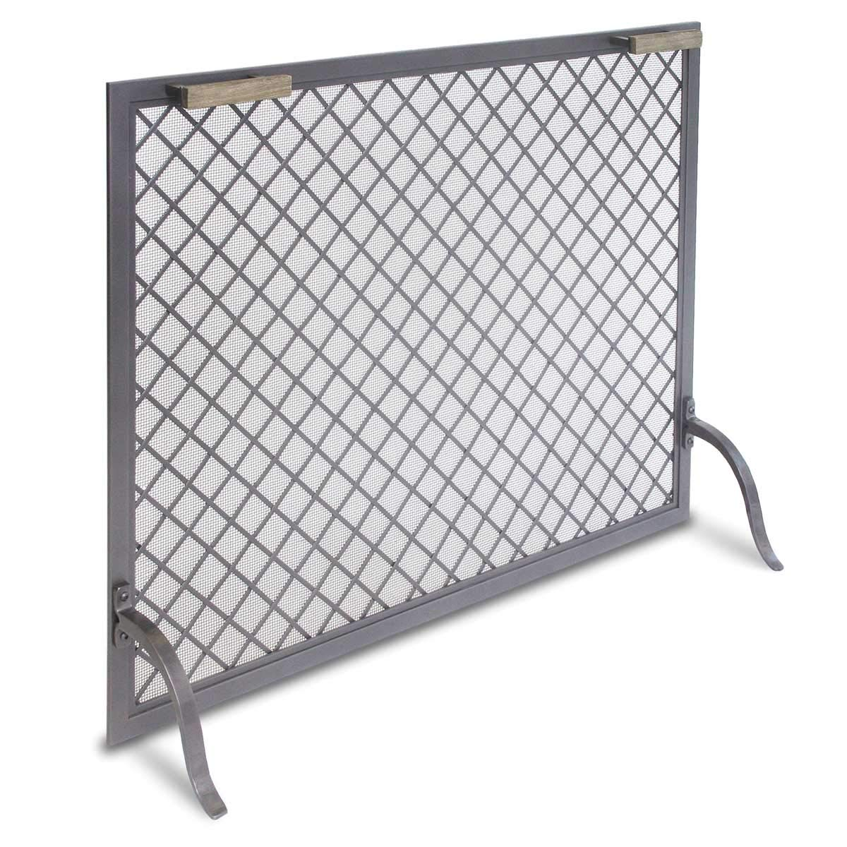 """Pilgrim Home and Hearth 18317 Stanton Single Panel Fireplace Screen, Natural Iron, 39""""W x 31""""H x 12""""D, 22 lbs,"""