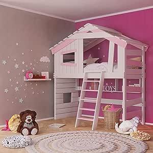 Cuna para niños y jóvenes, cama alta, cama para niñas, litera, casa de juegos en color crema y blanco y rosa. rosa rosa Talla:mit Regal: Amazon.es: Bebé