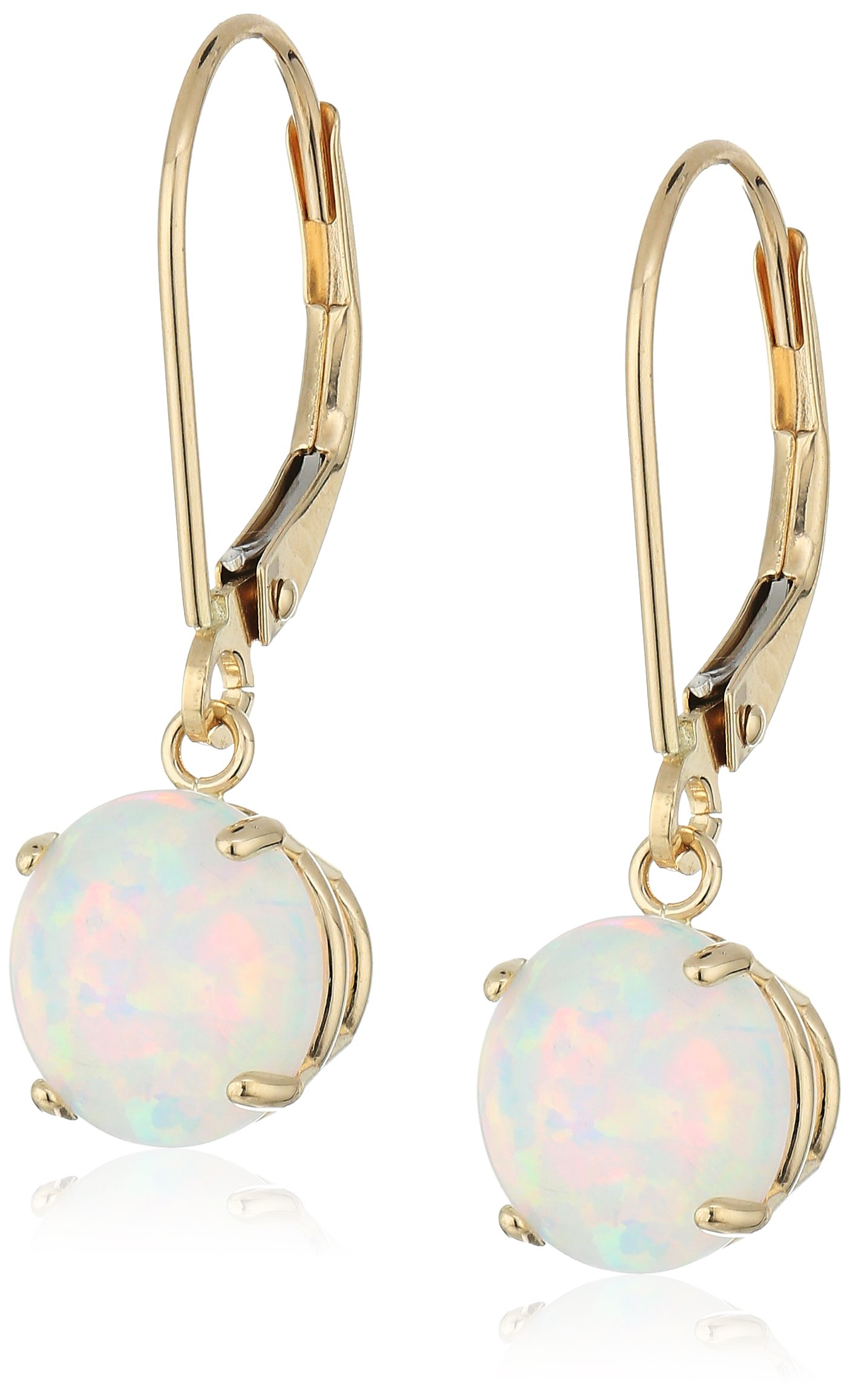 10k Yellow Gold Round Checkerboard Cut Created Opal Leverback Earrings (8mm)
