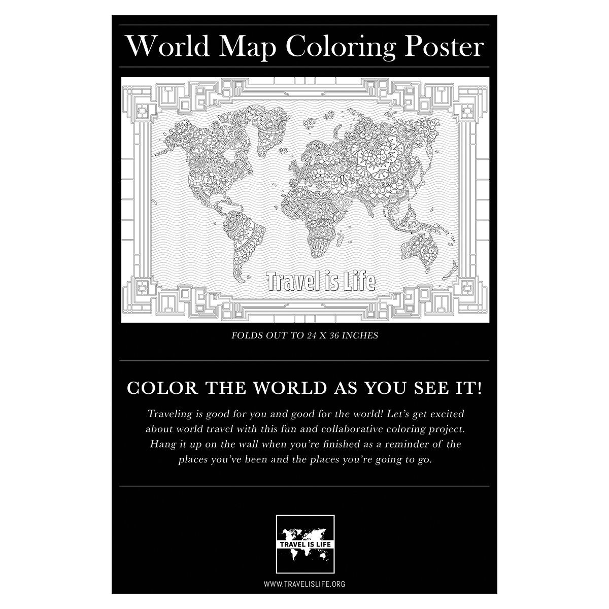 Amazon travel is life world map coloring poster 24 x 36 for amazon travel is life world map coloring poster 24 x 36 for kids adults toys games publicscrutiny Gallery