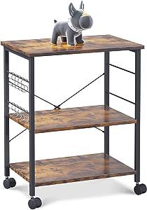 ODK Kitchen Baker's Rack, Kitchen Cart Island Utility Storage Shelf Microwave Oven Stand 3 Tier with 10 S-Shape Hooks Rolling Lockable Caster, Metal Frame, Vintage Brown