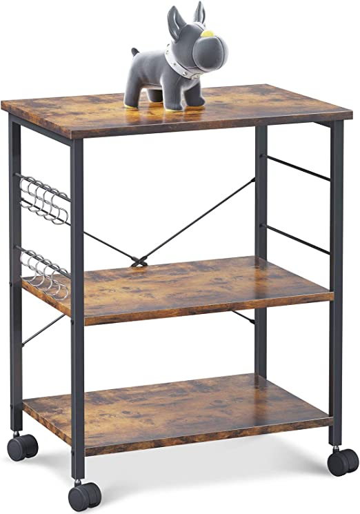 ODK Kitchen Baker's Rack, Kitchen Island Utility Storage Shelf Microwave Oven Stand Cart, 3 Tier with 10 Removable Hooks, Rolling Lockable Caster, Rustic Brown
