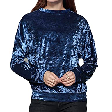 f0793d57efc4c Women s Vintage T-Shirt Velvet Casual Long Sleeve Top at Amazon ...