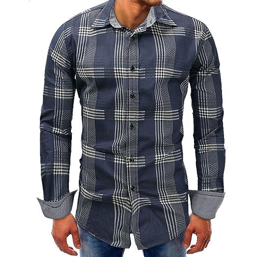 b19d30cc731 Transer Men s Casual Denim Button Down Slim Fit Long Sleeve Plaid Shirt Tops  (Dark Blue