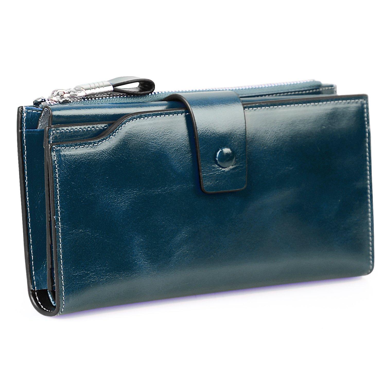 Jack&Chris Women's RFID Blocking Luxury Wax Genuine Leather Clutch Wallet Card Holder Organizer Ladies Purse, WB301 (blue)