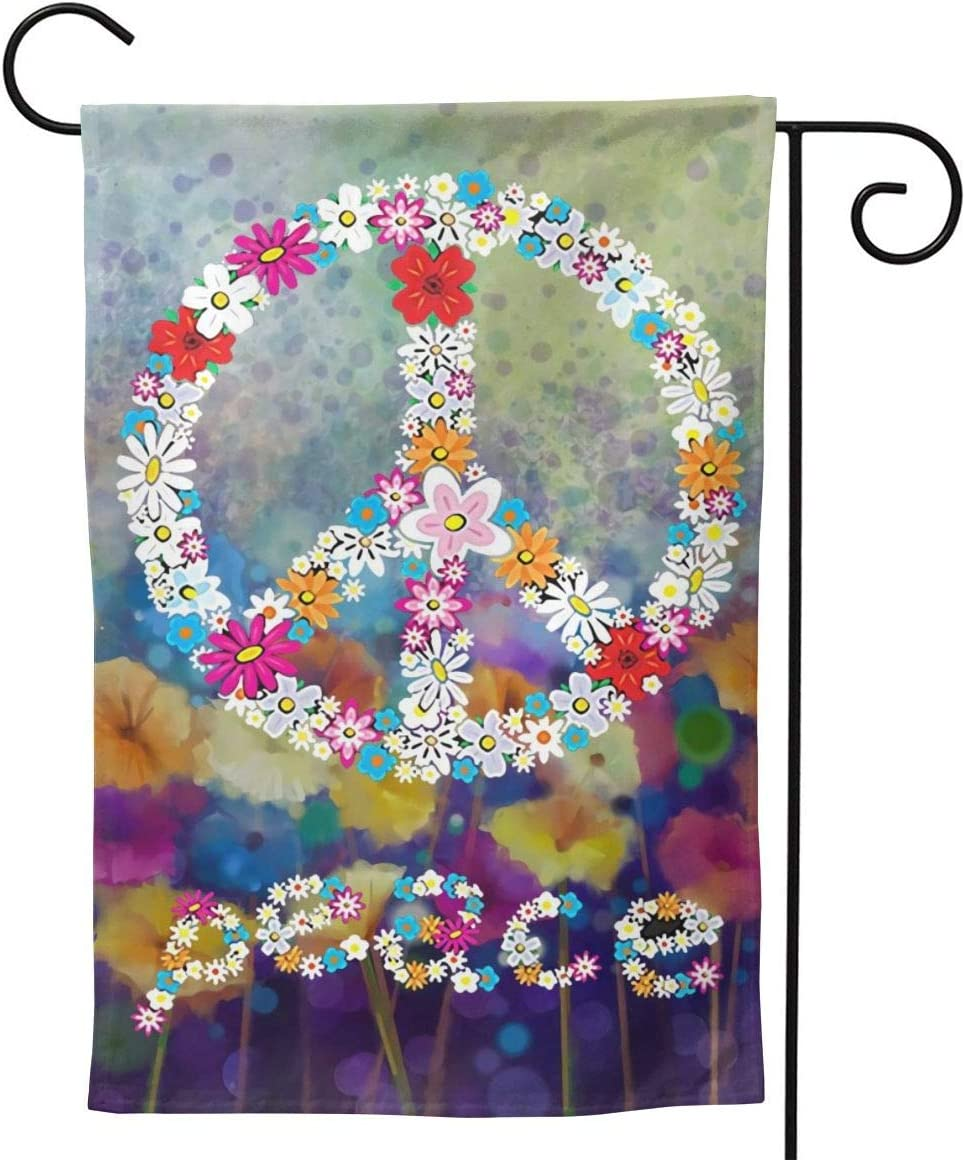 Patsmin Peace Sign Seasonal Garden Flags Suitable for Yard Outdoor Decor Double Sided for All Seasons and Holidays