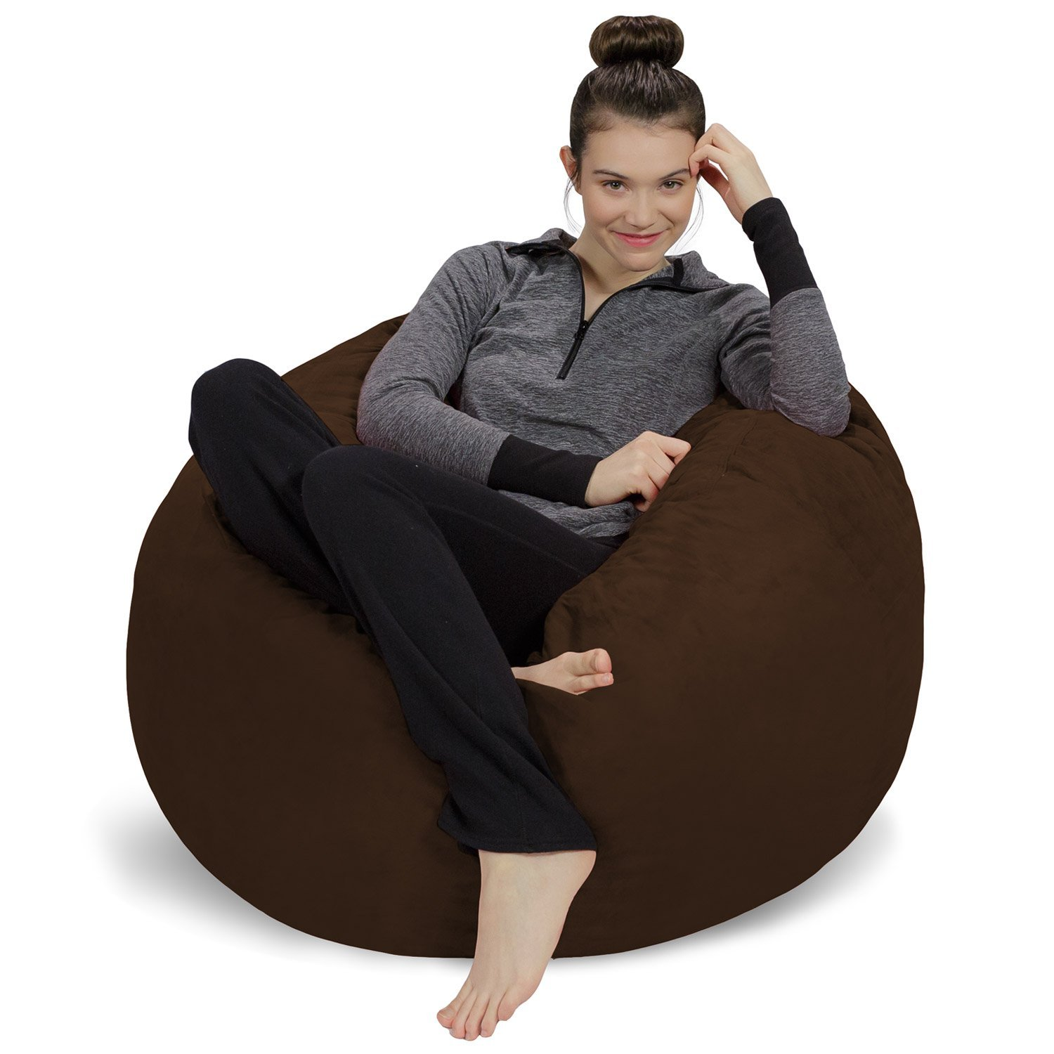 Sofa Sack - Plush, Ultra Soft Bean Bag Chair - Memory Foam Bean Bag Chair with Microsuede Cover - Stuffed Foam Filled Furniture and Accessories for Dorm Room - Chocolate 3'