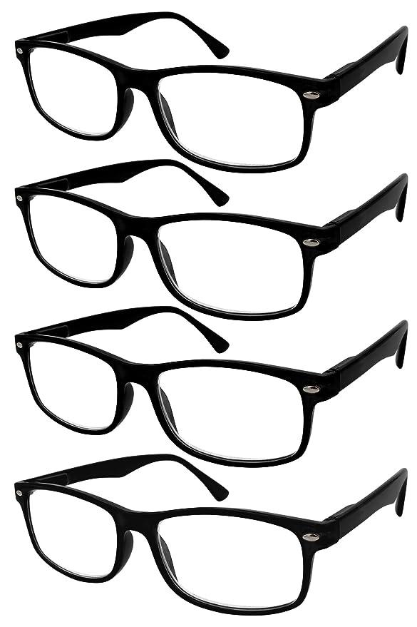 TBOC Gafas de Lectura Presbicia Vista Cansada - (Pack 4 Unidades) Graduadas +1.50 Dioptrías Montura de Pasta Negra Diseño Moda Hombre Mujer Unisex ...