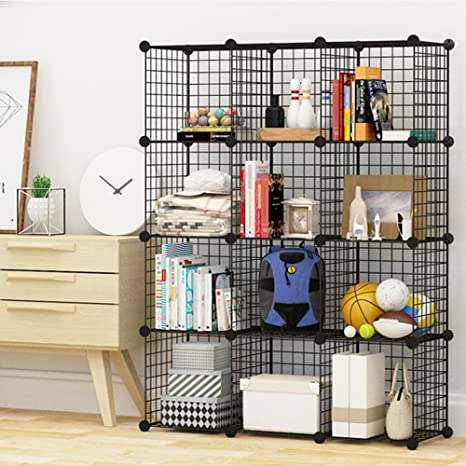 MEGAFUTURE Steel Wire Storage Cubes Modular Shelving Grids DIY Organizer Grids Bookcase & Amazon.com: MEGAFUTURE Steel Wire Storage Cubes Modular Shelving ...