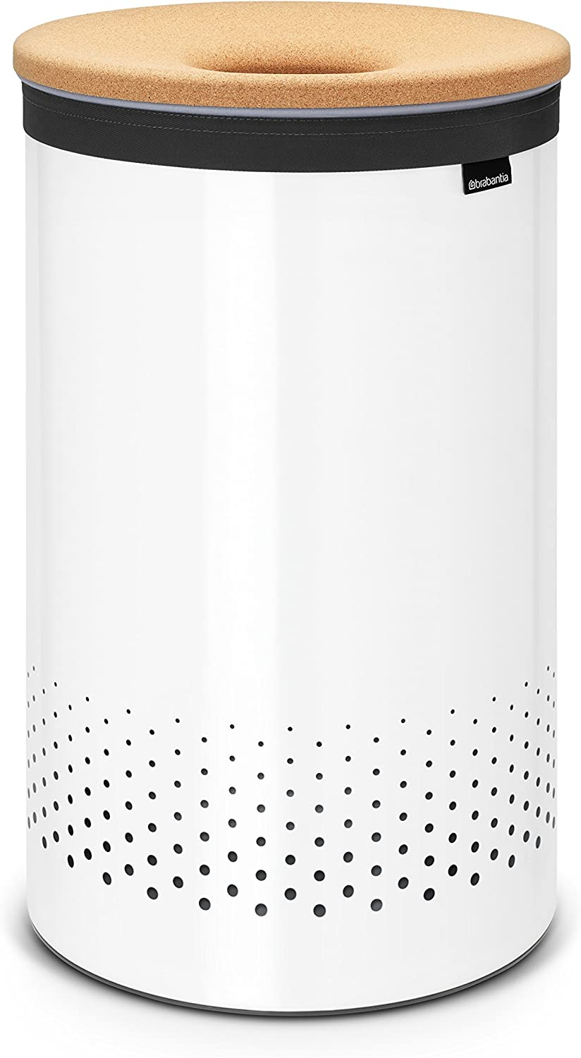 Brabantia Large Laundry Bin with Cork Lid, 16 Gallon (60L), White