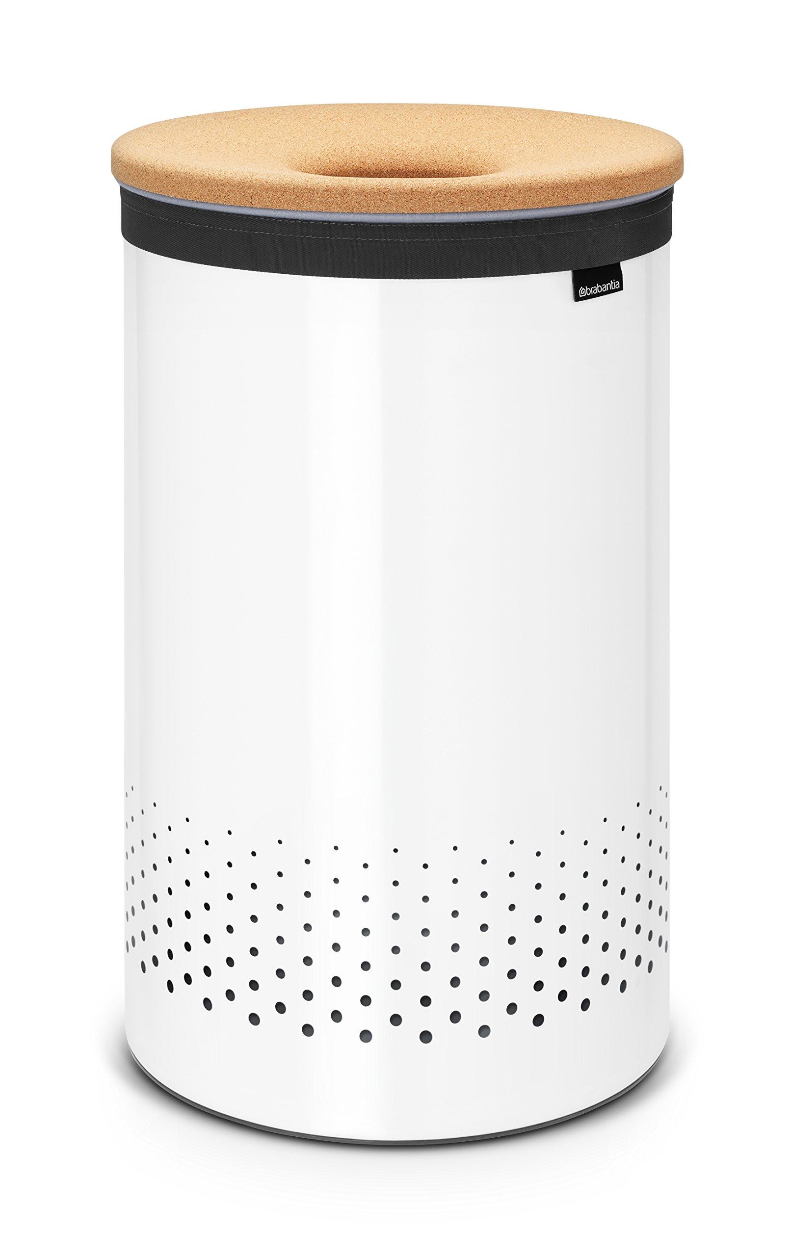 Brabantia Large Laundry Bin with Cork Lid, 16 Gallon (60L) White by Brabantia