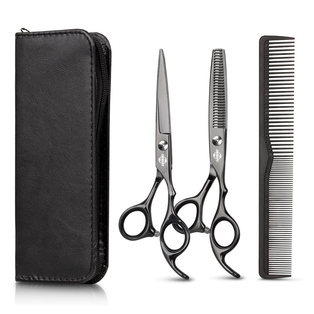 Hair Cutting Scissors Set with Hair Comb, Leather Scissors Case and Hair Cutting Cape, Sharp Regular Hair Cutting Shear, Hair Thinning Scissor Barber for Personal and Professional Use by TC JOY BUI-56