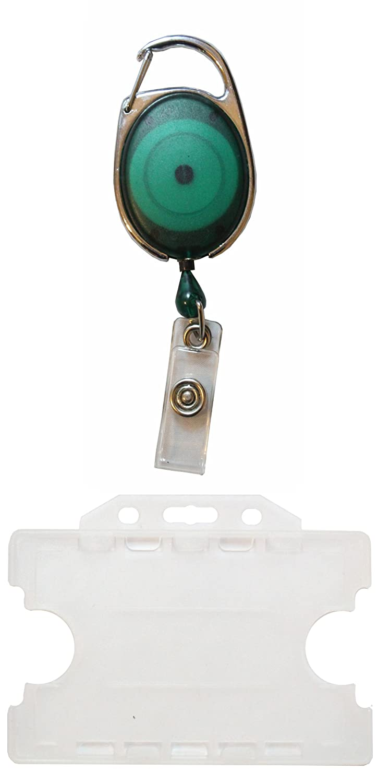 /blu Customcard retrattile distintivo Reel con doppio opaco ID card Holder/