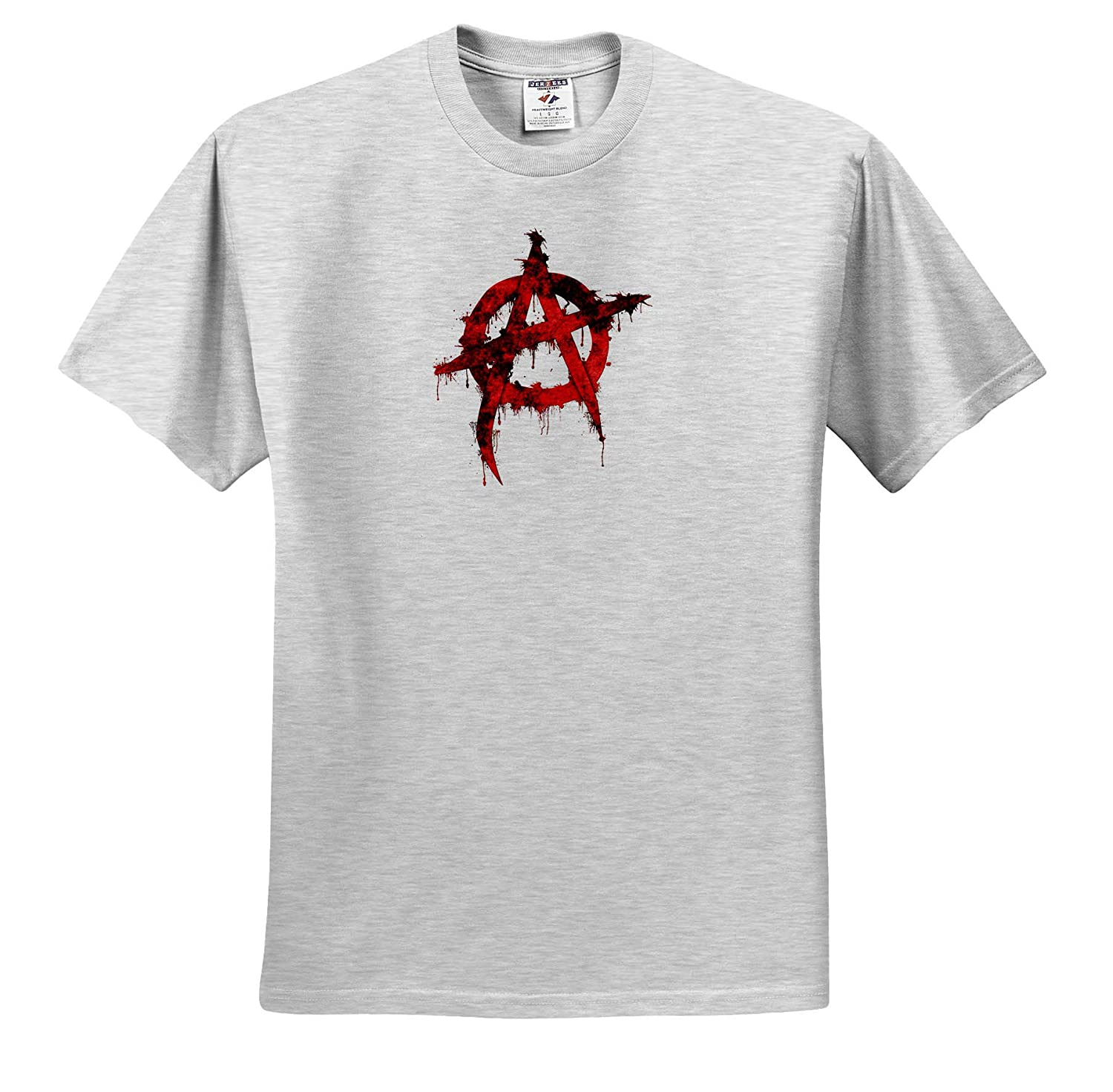Political Anarchy Symbol in Dripping Spraypaint - T-Shirts 3dRose Macdonald Creative Studios Political