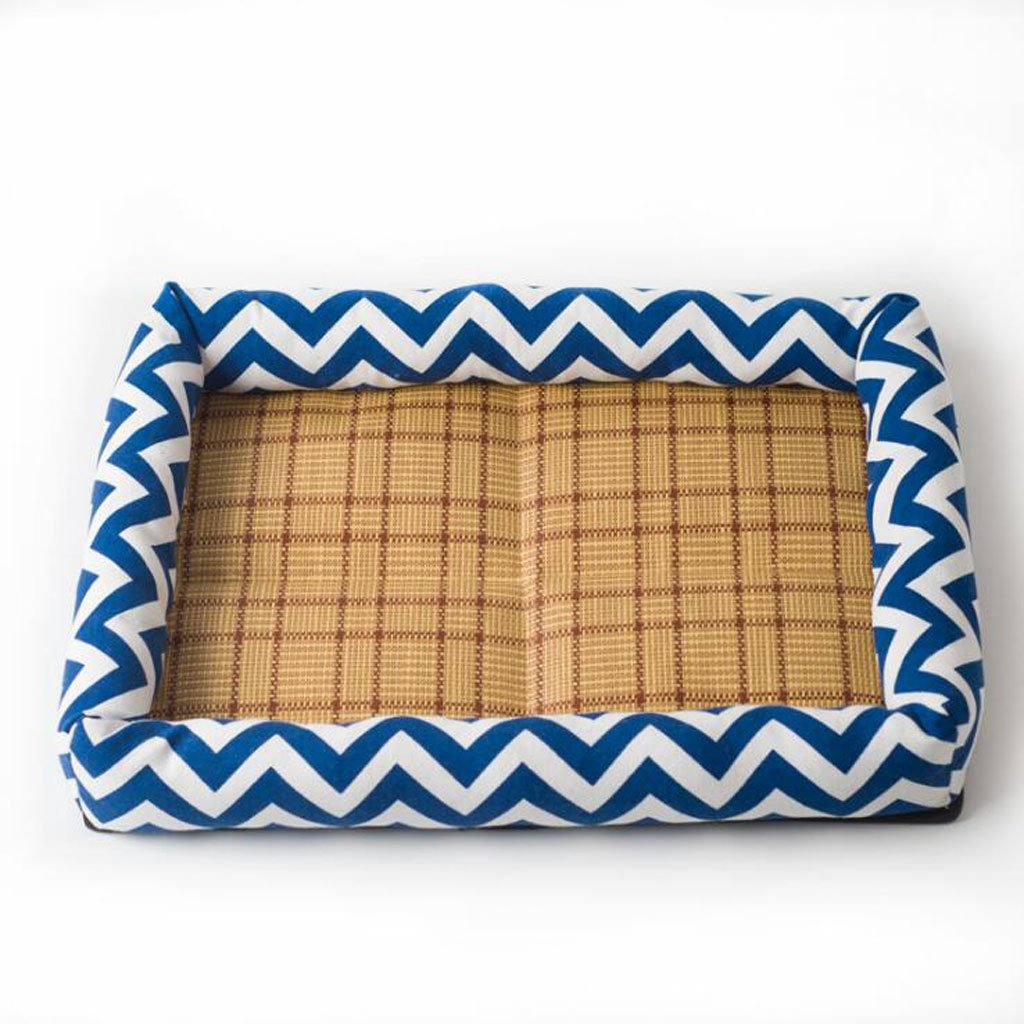 bluee(A) L bluee(A) L Pet Bed Made Printing Canvas Sponge Made Of Thick Wear-resistant Touch Delicate Multi-color Optional Dog Bed (color   bluee(A), Size   L)