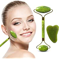 Face Jade Roller & Gua Sha Scrapping Tool Set, Home-Mart Ultimate Skin Care Solution for Anti-Aging & Anti-Wrinkle - Natural Jade Stone Face Roller is also Perfect as Neck & Puffy Eyes Massager