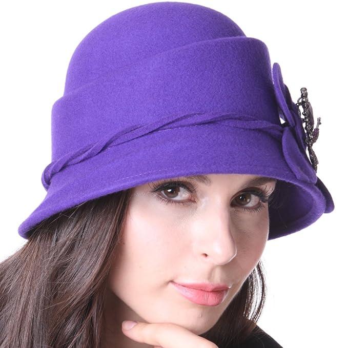 6ae04931dac June s Young Women Hat Winter Felt Hat Cloche Hat Purple Stylish Hat ...