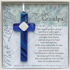 Grandpa Handmade Glass Cross: Sentimental Gift for Grandpa