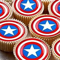 Decoración para tarta de papel de arroz de 4 cm, diseño del Capitán América